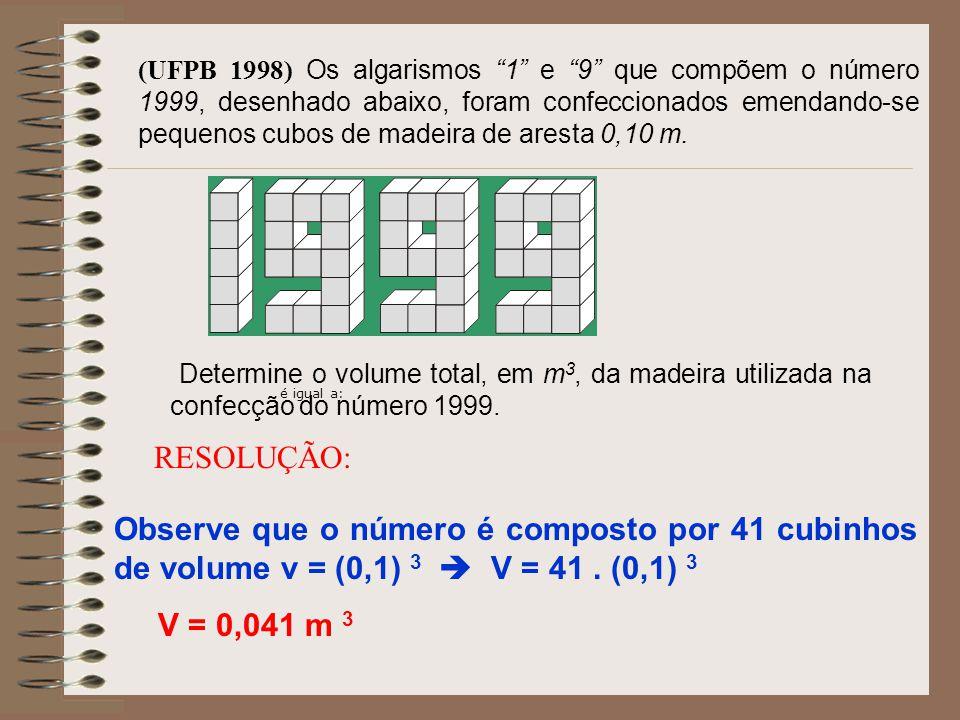 (UFPB 1998) Os algarismos 1 e 9 que compõem o número 1999, desenhado abaixo, foram confeccionados emendando-se pequenos cubos de madeira de aresta 0,10 m.
