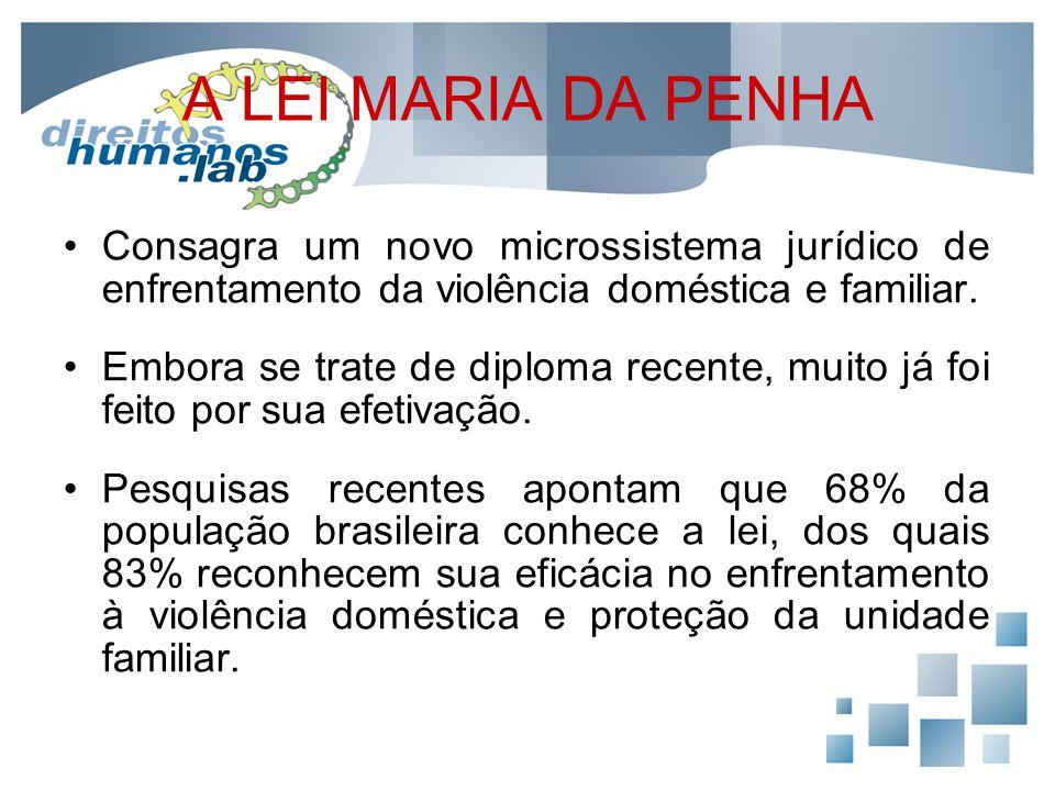 A LEI MARIA DA PENHA Consagra um novo microssistema jurídico de enfrentamento da violência doméstica e familiar.