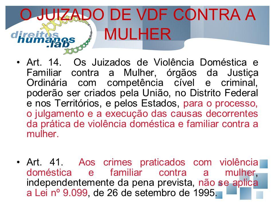 O JUIZADO DE VDF CONTRA A MULHER