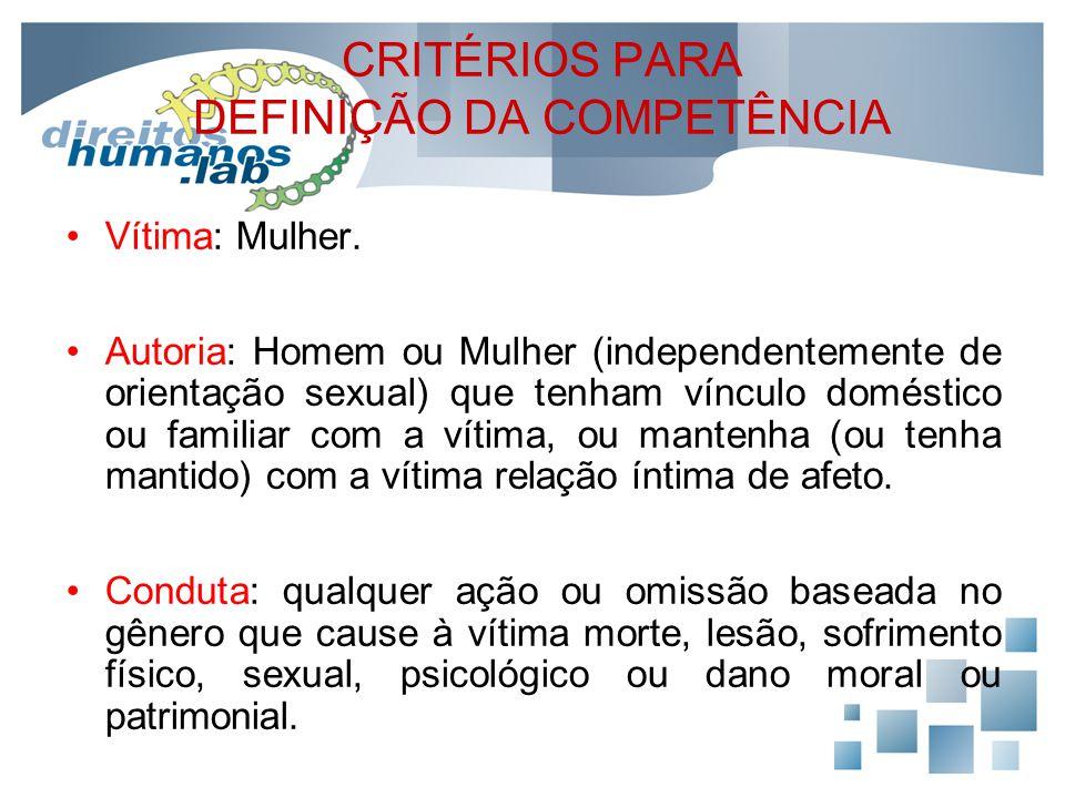 CRITÉRIOS PARA DEFINIÇÃO DA COMPETÊNCIA