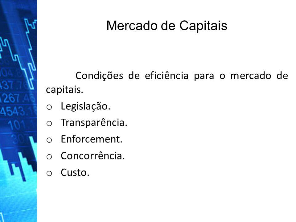 Mercado de Capitais Condições de eficiência para o mercado de capitais. Legislação. Transparência.