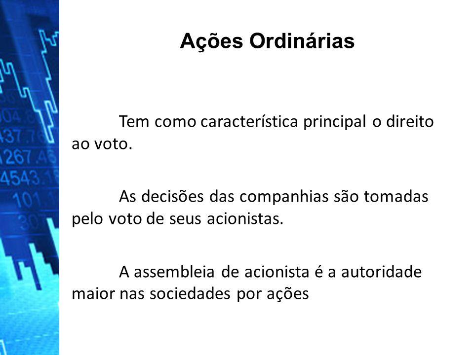 Ações Ordinárias Tem como característica principal o direito ao voto.