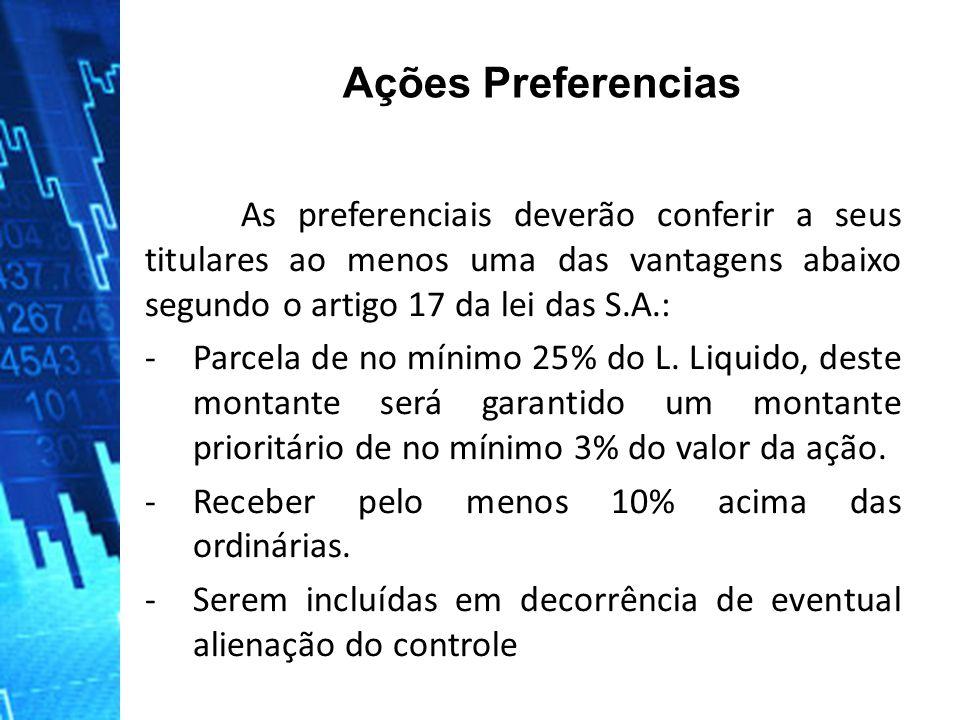 Ações Preferencias As preferenciais deverão conferir a seus titulares ao menos uma das vantagens abaixo segundo o artigo 17 da lei das S.A.: