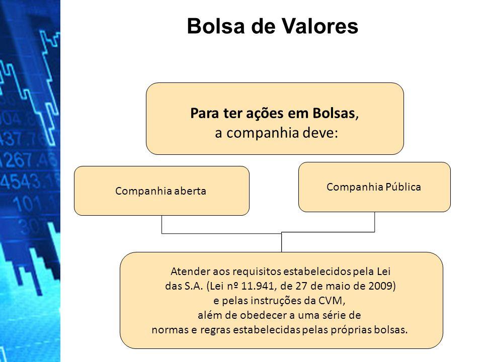 Bolsa de Valores Para ter ações em Bolsas, a companhia deve:
