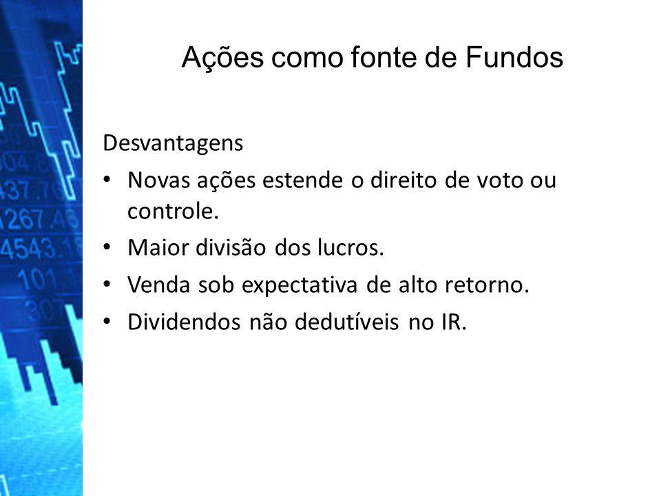 Ações como fonte de Fundos