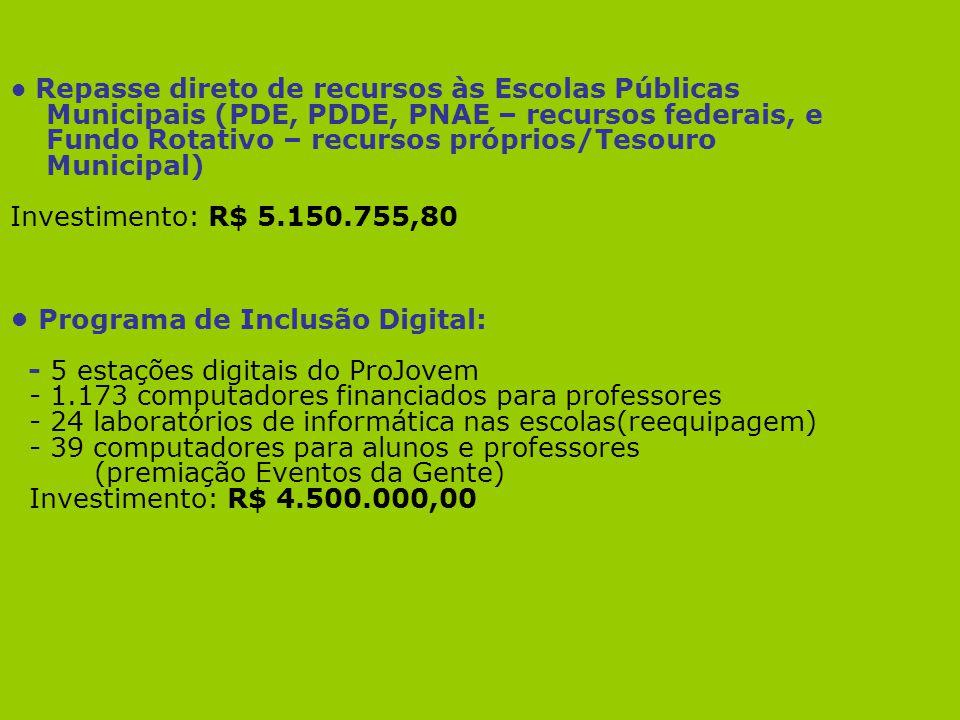 • Programa de Inclusão Digital: - 5 estações digitais do ProJovem