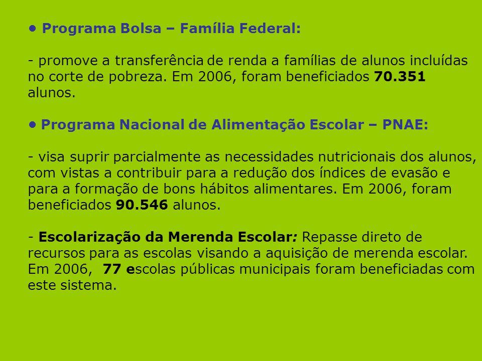 • Programa Bolsa – Família Federal:
