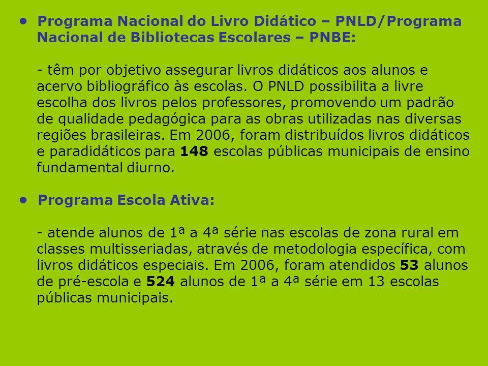 • Programa Nacional do Livro Didático – PNLD/Programa Nacional de Bibliotecas Escolares – PNBE: