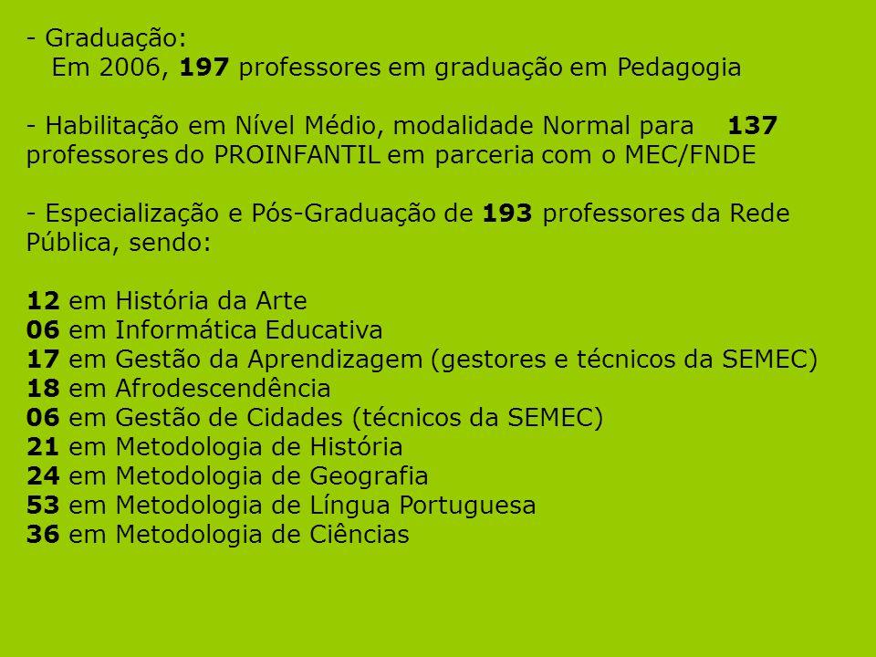 - Graduação: Em 2006, 197 professores em graduação em Pedagogia.