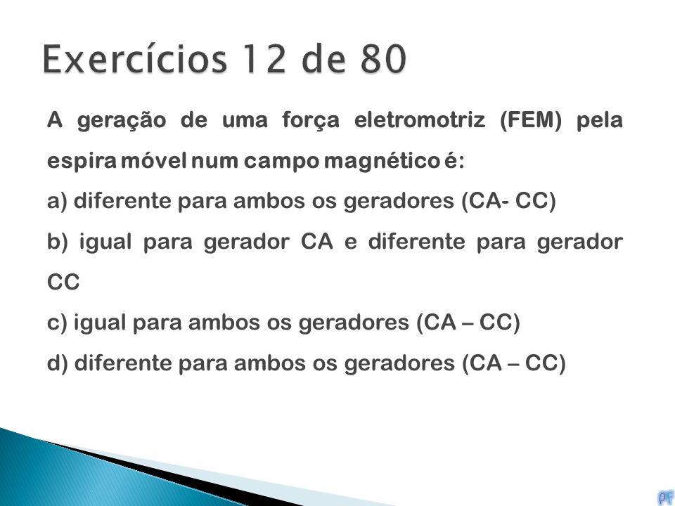 Exercícios 12 de 80 A geração de uma força eletromotriz (FEM) pela espira móvel num campo magnético é: