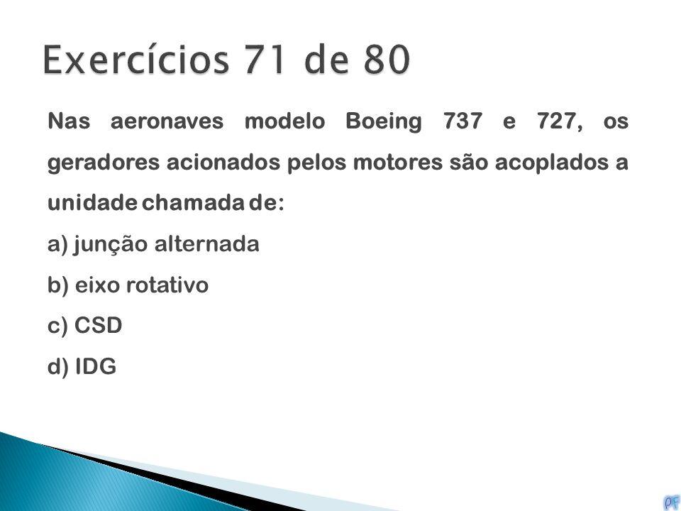 Exercícios 71 de 80 Nas aeronaves modelo Boeing 737 e 727, os geradores acionados pelos motores são acoplados a unidade chamada de: