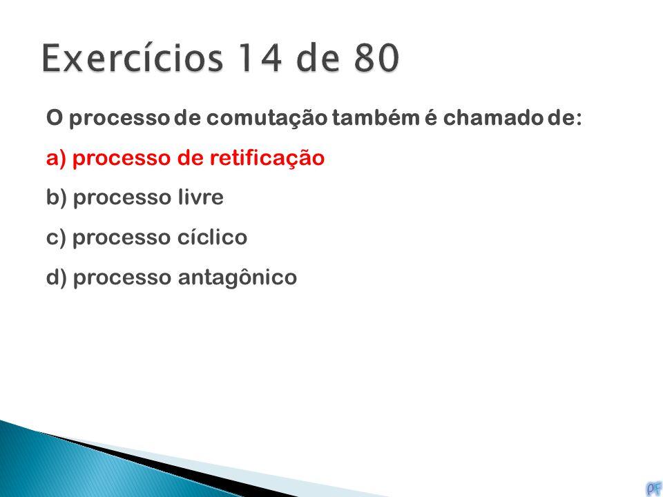Exercícios 14 de 80 O processo de comutação também é chamado de: