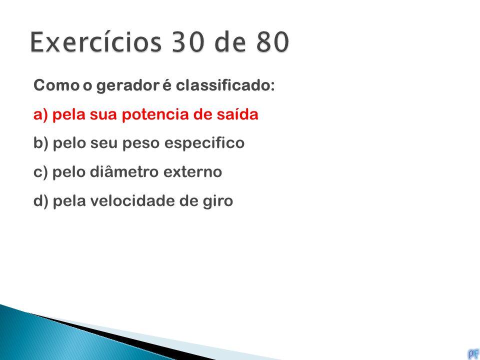 Exercícios 30 de 80 Como o gerador é classificado: