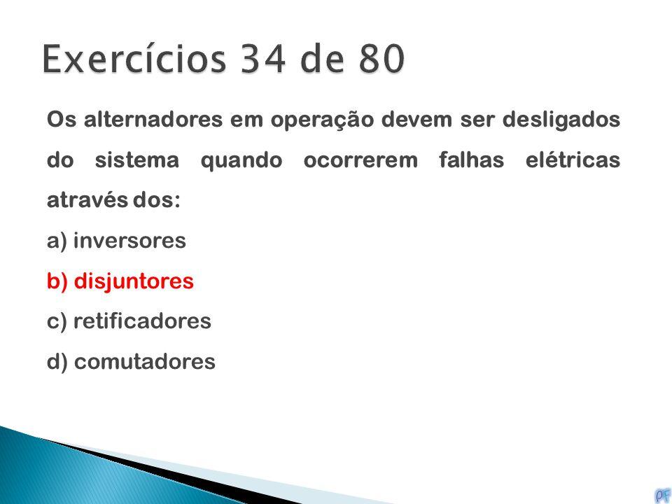 Exercícios 34 de 80 Os alternadores em operação devem ser desligados do sistema quando ocorrerem falhas elétricas através dos:
