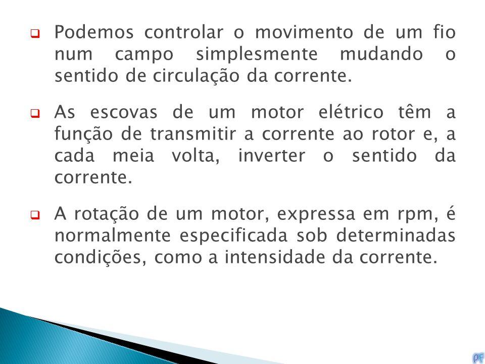 Podemos controlar o movimento de um fio num campo simplesmente mudando o sentido de circulação da corrente.