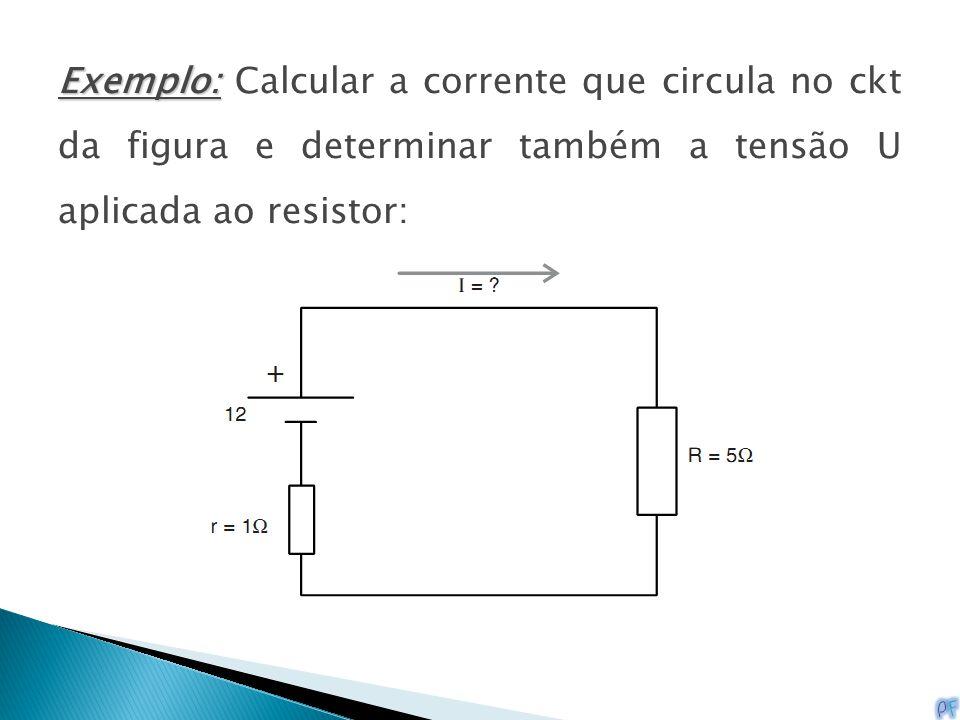 Exemplo: Calcular a corrente que circula no ckt da figura e determinar também a tensão U aplicada ao resistor: