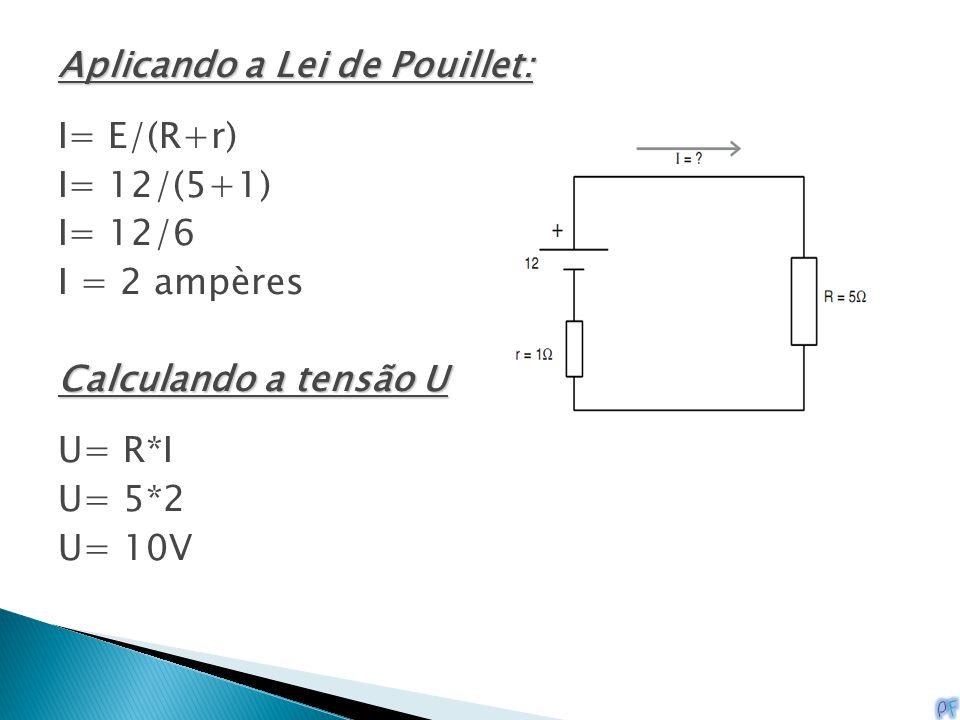 Aplicando a Lei de Pouillet: I= E/(R+r) I= 12/(5+1) I= 12/6 I = 2 ampères Calculando a tensão U U= R*I U= 5*2 U= 10V
