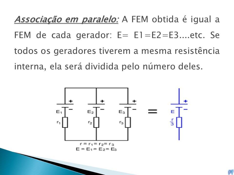 Associação em paralelo: A FEM obtida é igual a FEM de cada gerador: E= E1=E2=E3....etc.