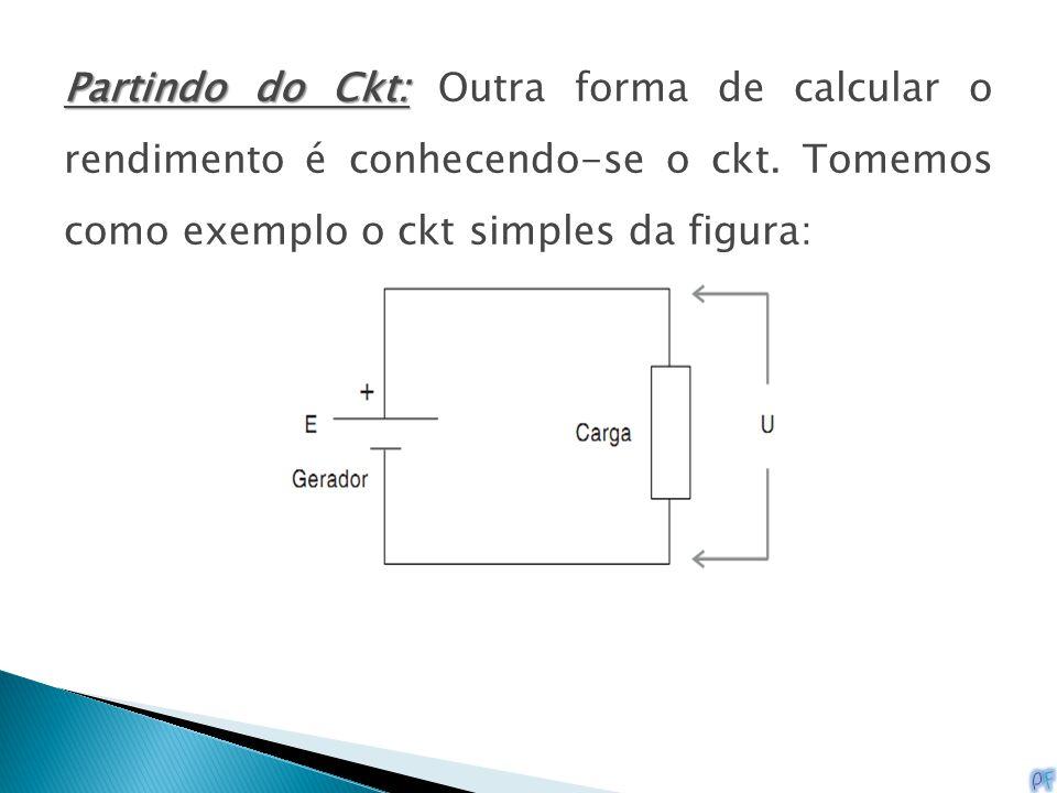 Partindo do Ckt: Outra forma de calcular o rendimento é conhecendo-se o ckt.
