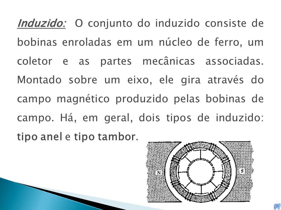 Induzido: O conjunto do induzido consiste de bobinas enroladas em um núcleo de ferro, um coletor e as partes mecânicas associadas.