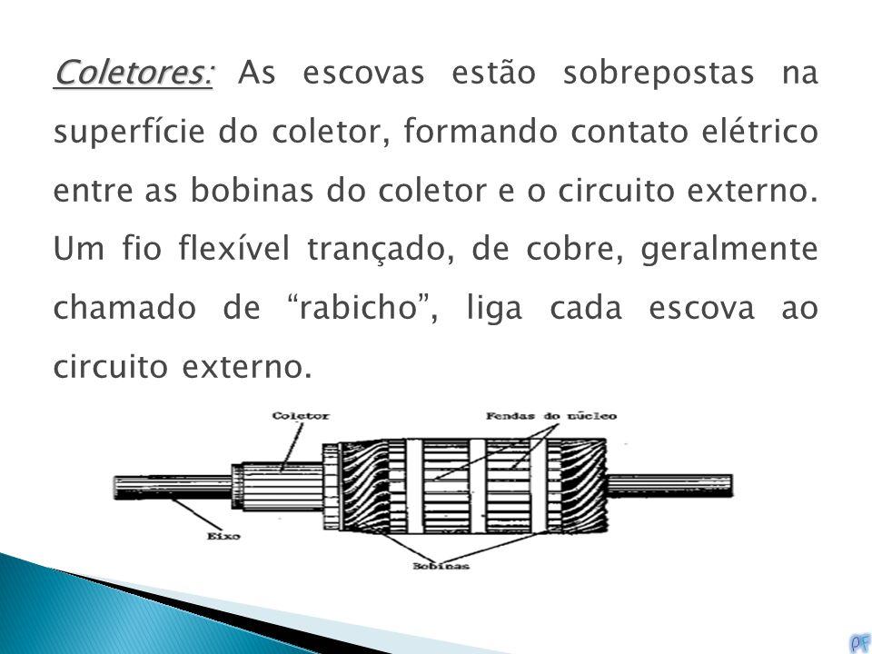 Coletores: As escovas estão sobrepostas na superfície do coletor, formando contato elétrico entre as bobinas do coletor e o circuito externo.