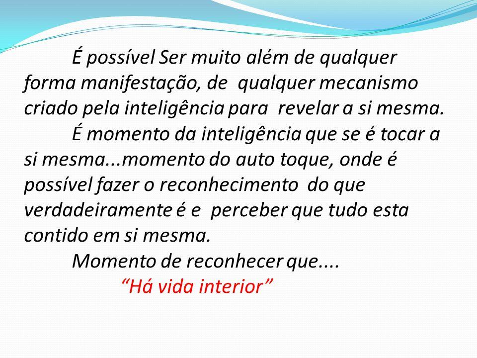 É possível Ser muito além de qualquer forma manifestação, de qualquer mecanismo criado pela inteligência para revelar a si mesma.