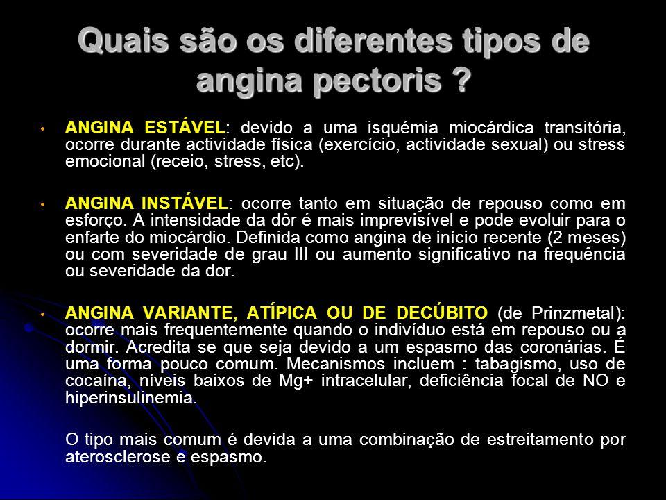 Quais são os diferentes tipos de angina pectoris