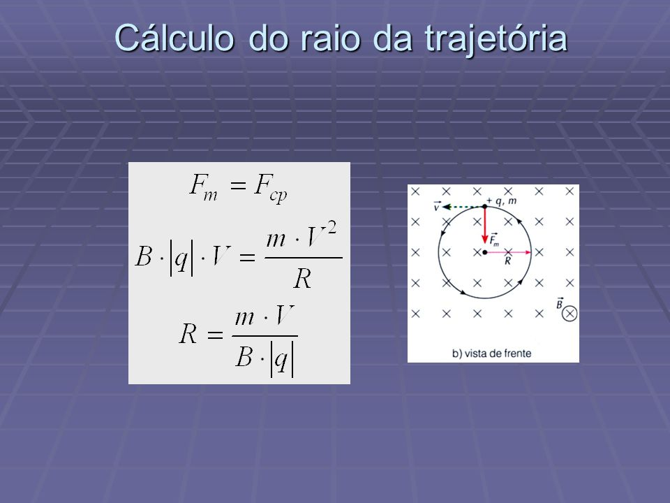 Cálculo do raio da trajetória