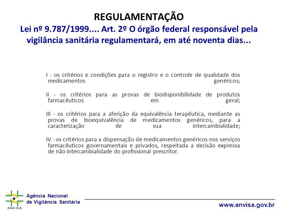 REGULAMENTAÇÃO Lei nº 9. 787/1999. Art