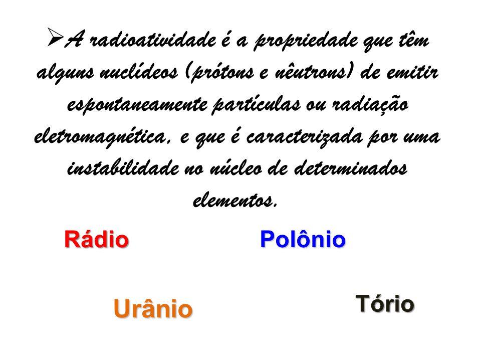 A radioatividade é a propriedade que têm alguns nuclídeos (prótons e nêutrons) de emitir espontaneamente partículas ou radiação eletromagnética, e que é caracterizada por uma instabilidade no núcleo de determinados elementos.
