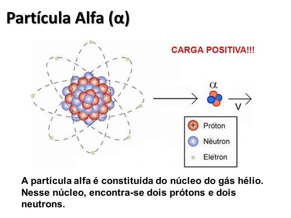 Partícula Alfa (α) CARGA POSITIVA!!. A partícula alfa é constituída do núcleo do gás hélio.