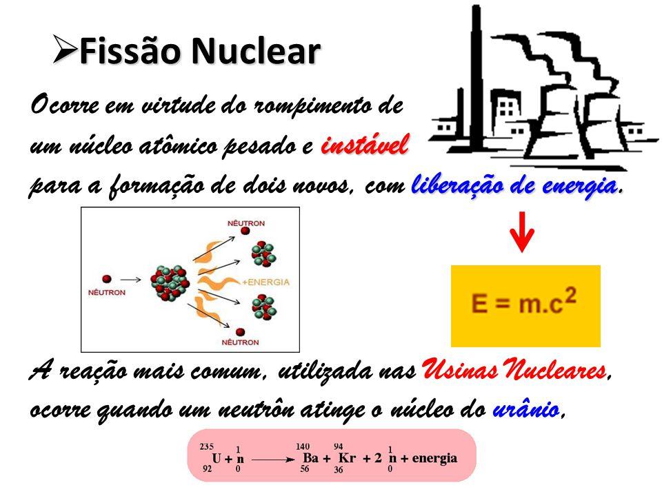 Fissão Nuclear Ocorre em virtude do rompimento de