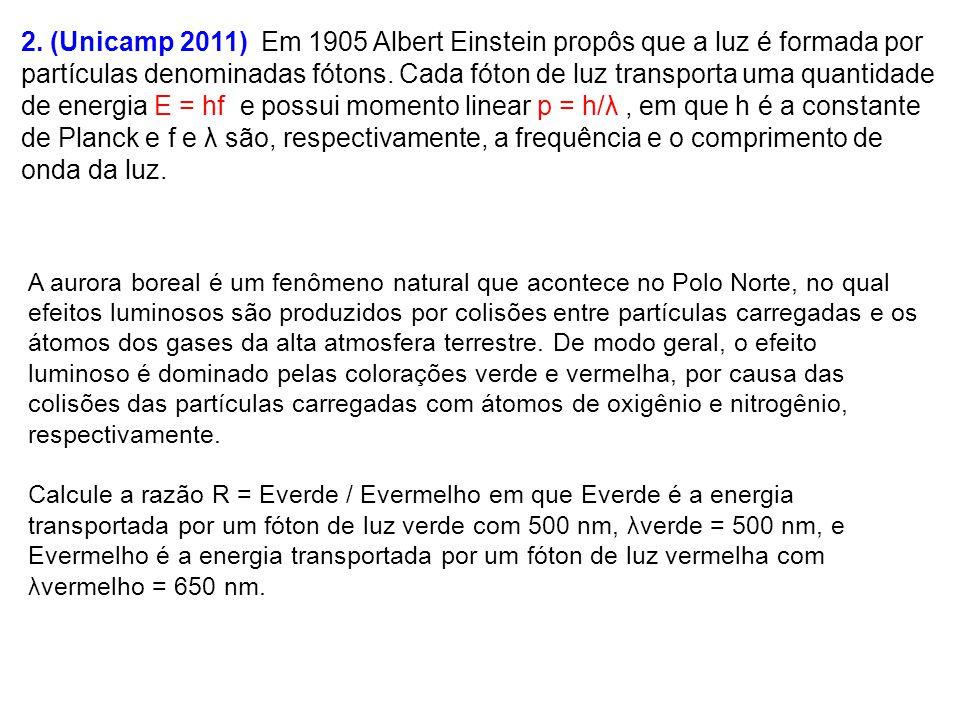 2. (Unicamp 2011) Em 1905 Albert Einstein propôs que a luz é formada por partículas denominadas fótons. Cada fóton de luz transporta uma quantidade de energia E = hf e possui momento linear p = h/λ , em que h é a constante de Planck e f e λ são, respectivamente, a frequência e o comprimento de onda da luz.