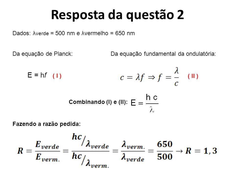 Resposta da questão 2 E = hf