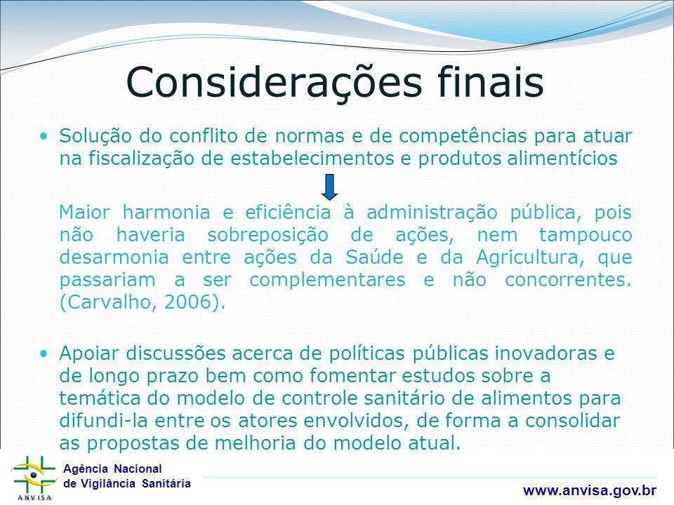 Considerações finais Solução do conflito de normas e de competências para atuar na fiscalização de estabelecimentos e produtos alimentícios.