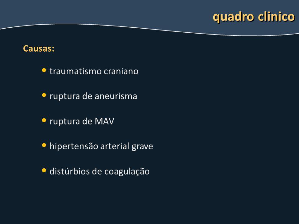 quadro clinico Causas: traumatismo craniano ruptura de aneurisma