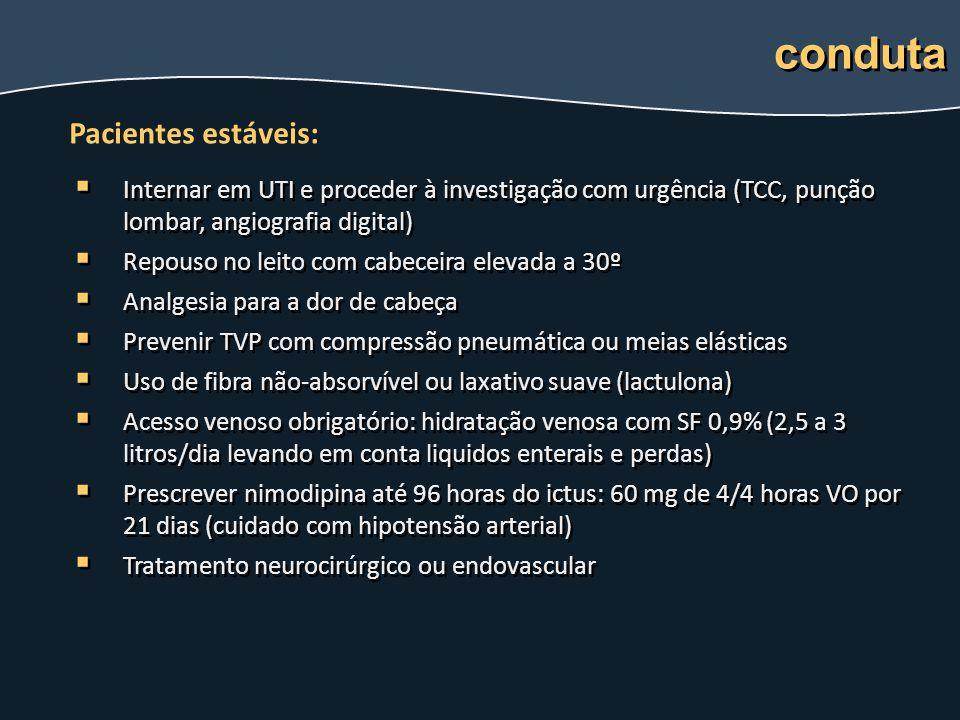 conduta Pacientes estáveis: