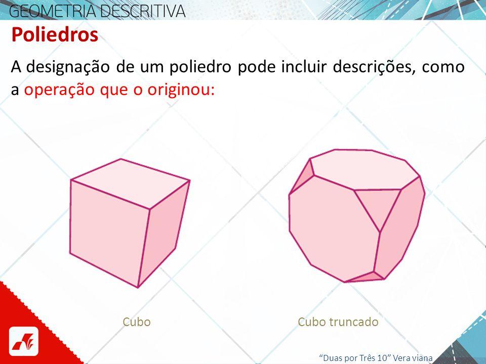 Poliedros A designação de um poliedro pode incluir descrições, como a operação que o originou: Cubo.