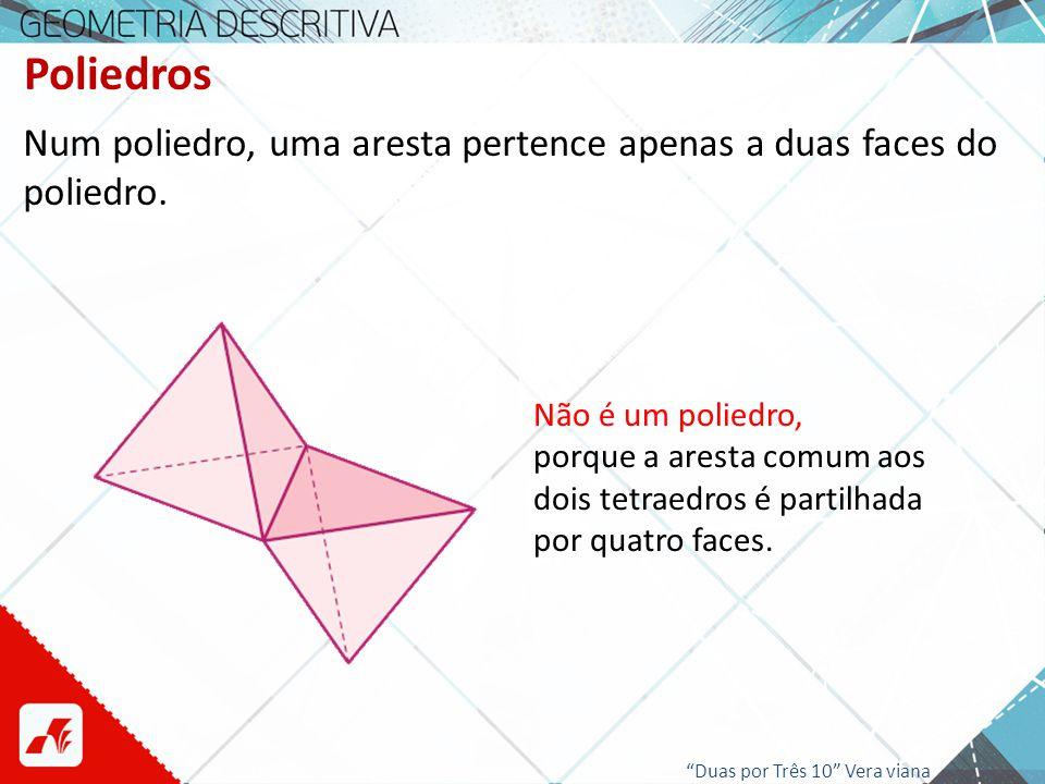 Poliedros Num poliedro, uma aresta pertence apenas a duas faces do poliedro. Não é um poliedro,