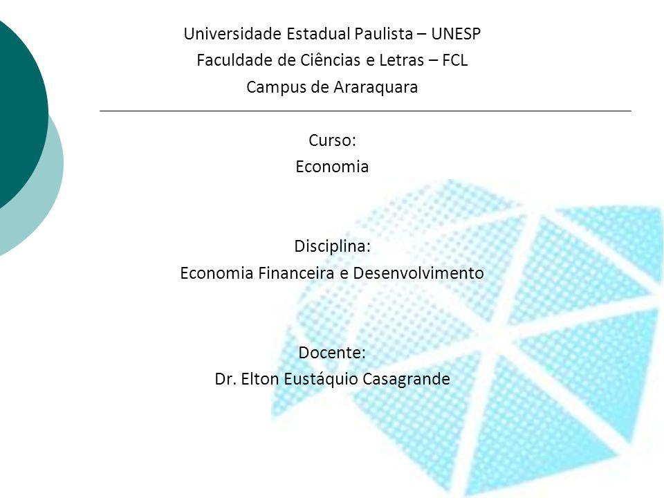 Universidade Estadual Paulista – UNESP Faculdade de Ciências e Letras – FCL Campus de Araraquara Curso: Economia Disciplina: Economia Financeira e Desenvolvimento Docente: Dr.
