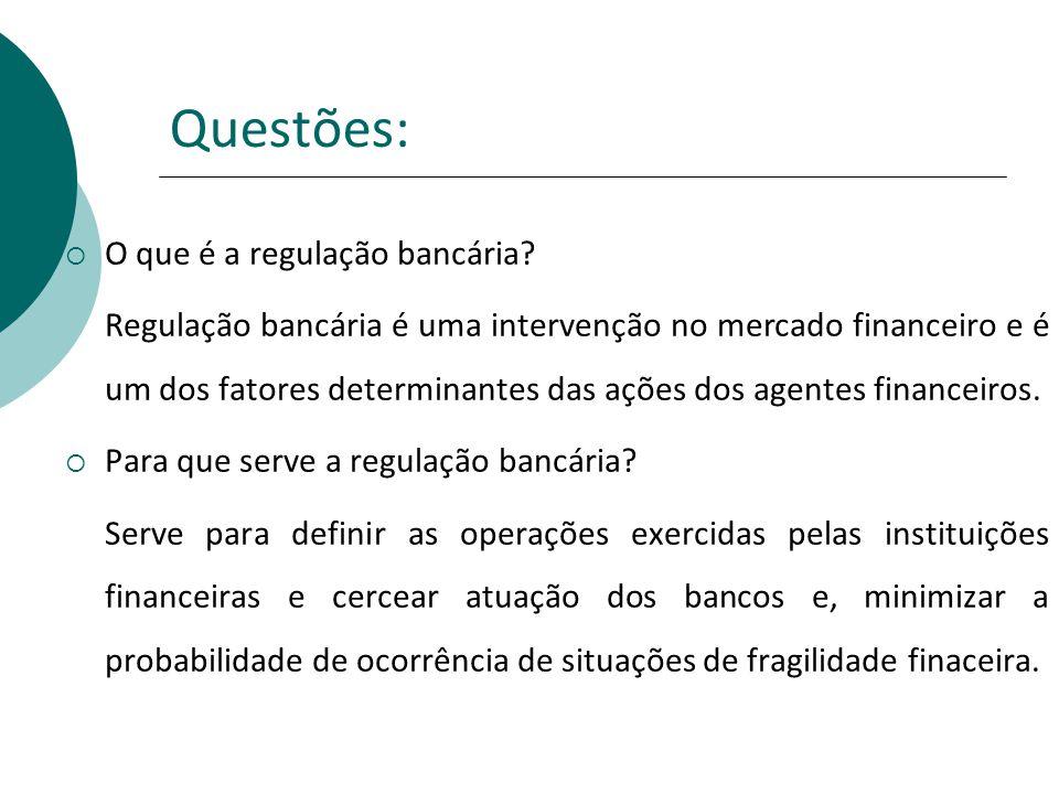 Questões: O que é a regulação bancária