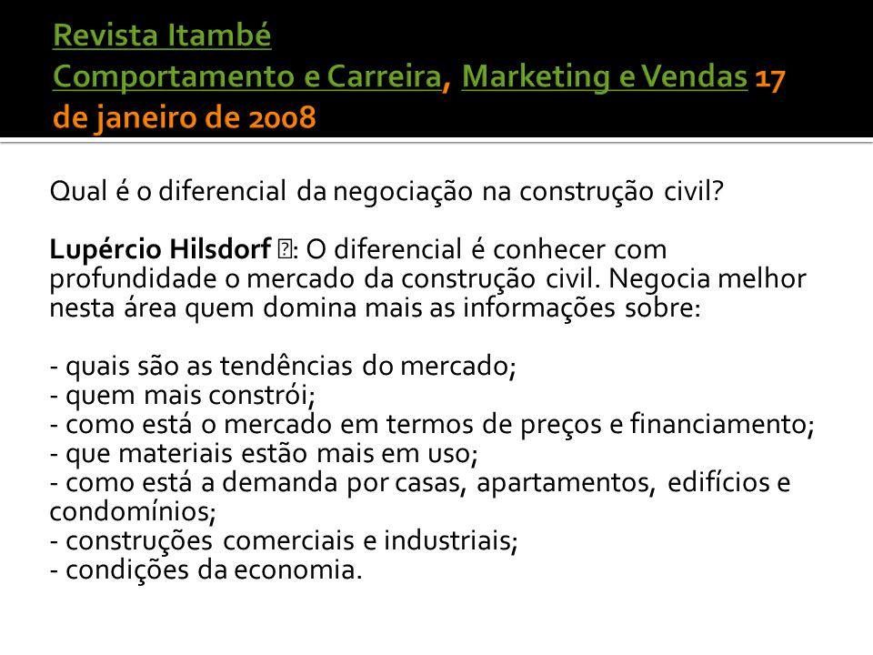 Revista Itambé Comportamento e Carreira, Marketing e Vendas 17 de janeiro de 2008