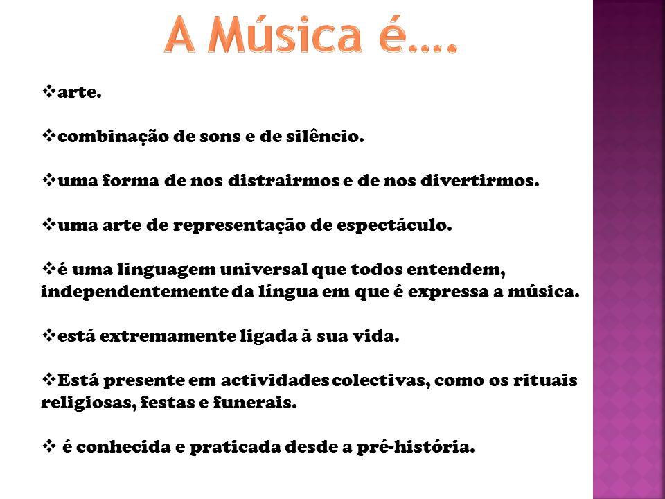 A Música é…. arte. combinação de sons e de silêncio.