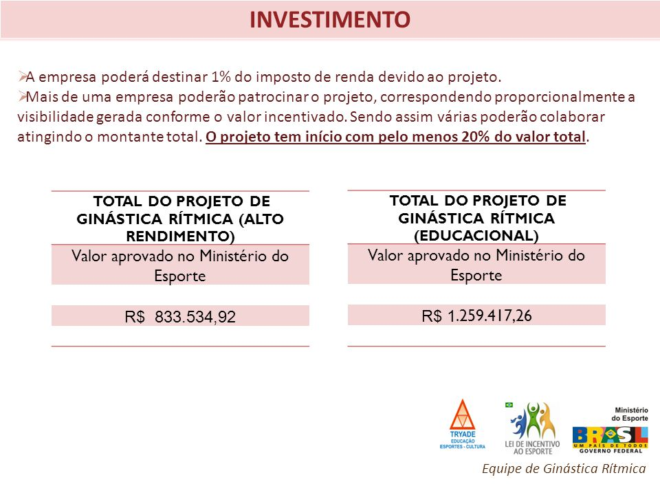 INVESTIMENTO A empresa poderá destinar 1% do imposto de renda devido ao projeto.