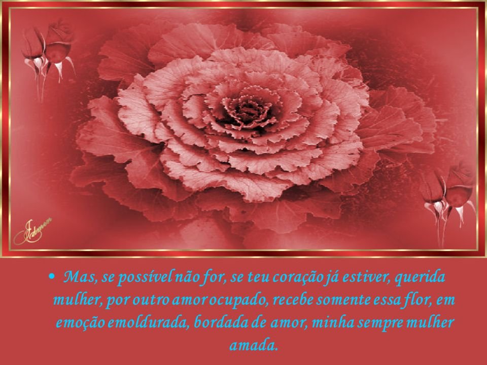 Mas, se possível não for, se teu coração já estiver, querida mulher, por outro amor ocupado, recebe somente essa flor, em emoção emoldurada, bordada de amor, minha sempre mulher amada.