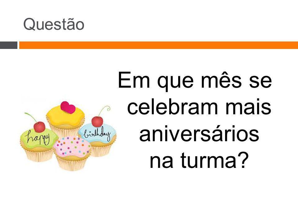 Em que mês se celebram mais aniversários na turma