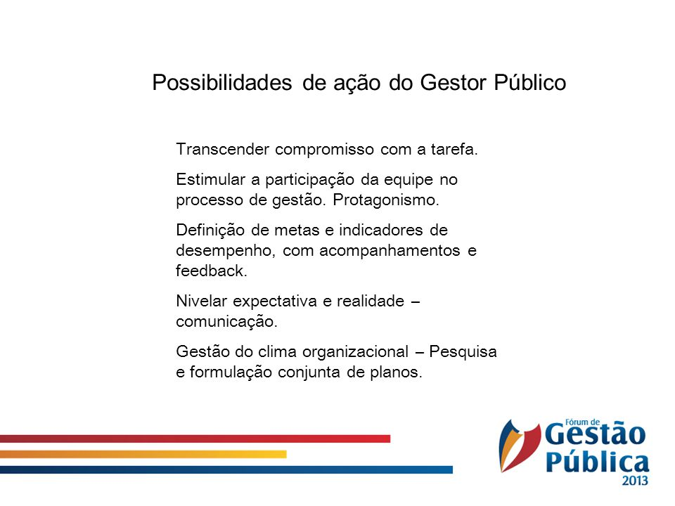 Possibilidades de ação do Gestor Público
