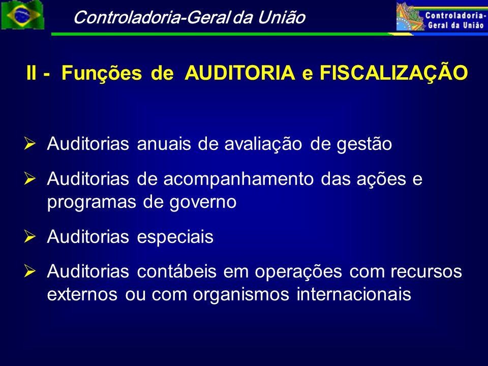 II - Funções de AUDITORIA e FISCALIZAÇÃO