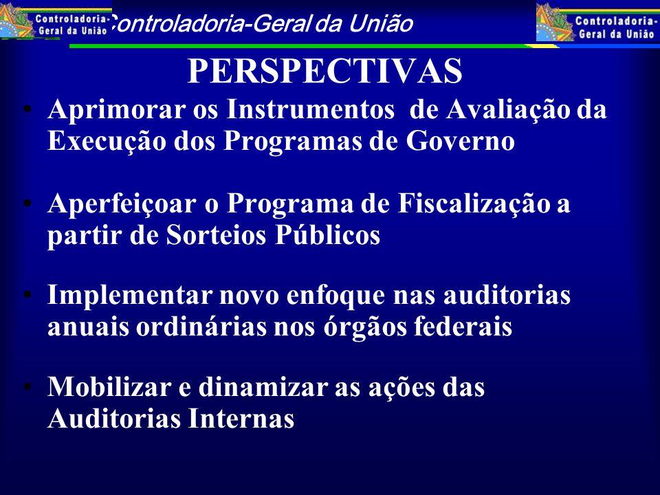 PERSPECTIVAS Aprimorar os Instrumentos de Avaliação da Execução dos Programas de Governo.
