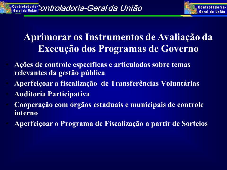 Aprimorar os Instrumentos de Avaliação da Execução dos Programas de Governo